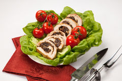 Turkey Breast Roulade on Butter Lettuce Royalty Free Stock Photo