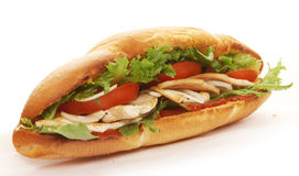 Turkey breast sadwich. Turkey breast submarin sandwich on white background Stock Photo