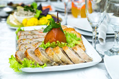Turkey breast stuffed with apricot and cranberry Stock Photography