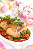 Turkey breast. Stuffed turkey breast with baked vegetables, parsley and spices on plate stock image