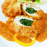Turkey Breast Stuffed with Spinach and Curry Sauce Royalty Free Stock Image
