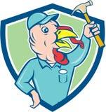 Turkey Builder Hammer Shield Cartoon Stock Image