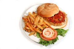 Turkey burger. Nutritious ground turkey burger and oven fries stock photo