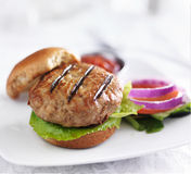 Turkey burger on bun with lettuce and fixings Royalty Free Stock Photos