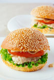 Turkey burger on porcelain dish Stock Photography