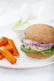 Turkey burger with spinach,onion Roasted sweet potato, batat Stock Images