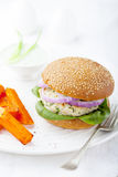 Turkey burger with spinach,onion Roasted sweet potato, batat Royalty Free Stock Images
