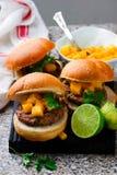 Turkey burgers with mango salsa.style rustic. Selective focus Stock Photo