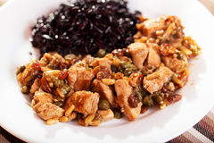 Turkey with capers and wild rice Royalty Free Stock Image