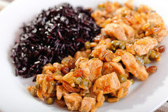 Turkey with capers and wild rice Stock Photos