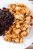 Turkey with capers and wild rice Stock Image