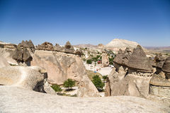 Turkey, Cappadocia. Cappadocia, Turkey. Top view of the picturesque mushrooms - pillars of weathering in the Valley of the Monks Royalty Free Stock Images