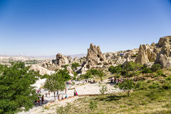 Turkey, Cappadocia. Cave monastery complex Open Air Museum Göreme. In the center of the photo rock with caves - Nunnery Kyzlar Royalty Free Stock Image