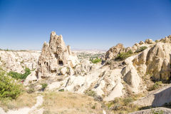 Turkey, Cappadocia. Cave monastery complex Open Air Museum Göreme. Rock with caves left - Nunnery Kyzlar, XI century Royalty Free Stock Photography