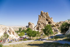 Turkey, Cappadocia. Cave monastery complex Open Air Museum of Goreme. Rock with caves in the foreground - Nunnery Kyzlar, XI c. Royalty Free Stock Images