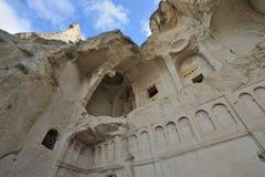 Turkey Cappadocia. Goreme (Gereme) open air museum. Turkey. Cappadocia. Goreme (Gereme) open air museum. Ruinous christian church against the background of blue Stock Images
