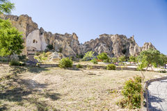 Turkey, Cappadocia. Scenic view of the churches in the rocks of the cave monastery complex in Goreme National Park Stock Photos