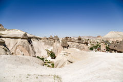 Turkey, Cappadocia. Top view of the picturesque Valley of Monks (Valley Pashabag) Royalty Free Stock Photos