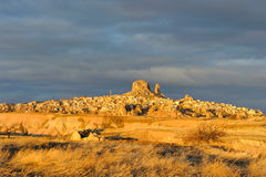 Turkey. Cappadocia. View on rock-castle of Uchisar Stock Images