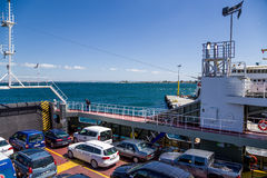 Turkey. Car deck of the ferry in the Dardanelles. The Dardanelles is a narrow strait in northwestern Turkey connecting the Aegean Sea to the Sea of Marmara. It royalty free stock image