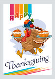 Turkey  that carries pies on Thanksgiving Day Royalty Free Stock Image