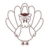 Turkey Cartoon Bird With Pilgrim Hat Isolated Icon Design Line Style Royalty Free Stock Photos