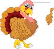Turkey cartoon with blank sign Stock Photography