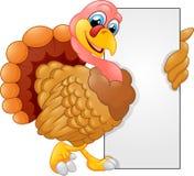 Turkey cartoon with blank sign Royalty Free Stock Image