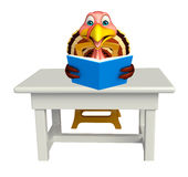 Turkey  cartoon character  with books and table and chair Royalty Free Stock Image