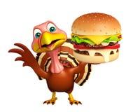 Turkey  cartoon character  with burger. 3d rendered illustration of Turkey cartoon character with burger Royalty Free Stock Photo