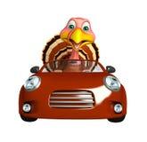 Turkey cartoon character with car Royalty Free Stock Image