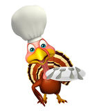 Turkey cartoon character  with chef hat and dinner plate Royalty Free Stock Photos