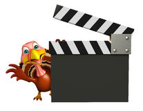 Turkey cartoon character with clapboard Royalty Free Stock Image