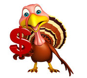 Turkey cartoon character with dollar sign Stock Images