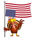 Turkey  cartoon character with flag Stock Image