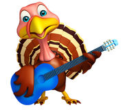 Turkey  cartoon character with guitar Royalty Free Stock Images