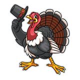Turkey cartoon character hold the hat. Vector of turkey cartoon character hold the hat Stock Image