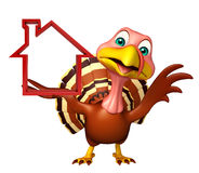 Turkey cartoon character  with home sign Royalty Free Stock Photography