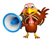 Turkey  cartoon character with loud speaker Royalty Free Stock Photos
