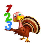 Turkey  cartoon character  with 123 sign Royalty Free Stock Photo