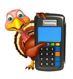 Turkey cartoon character with swap machine. 3d rendered illustration of Turkey cartoon character with swap machine Royalty Free Stock Photos