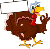 Turkey cartoon posing with blank sign Royalty Free Stock Image