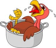 Turkey cartoon in the saucepan Royalty Free Stock Photos