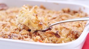 Turkey Casserole. A quick and easy, comfort food recipe. A great way to use left-over turkey from the holidays; combined with rice, cream of chicken soup Royalty Free Stock Photography