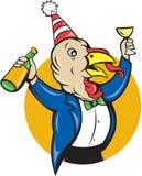 Turkey Celebrating Wine Party Hat Cartoon Stock Image