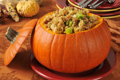 Turkey and celery stuffing in a pumpkin Stock Image