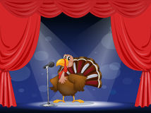 A turkey in the center of a stage Royalty Free Stock Photo
