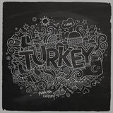 Turkey chalkboard background Stock Photography