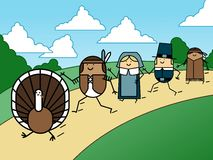 Turkey chase. Pilgrims and Indians chase a turkey on Thanksgiving Royalty Free Stock Photo