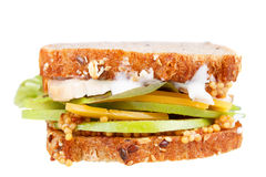 Turkey, cheddar, and green apple sandwich Royalty Free Stock Images